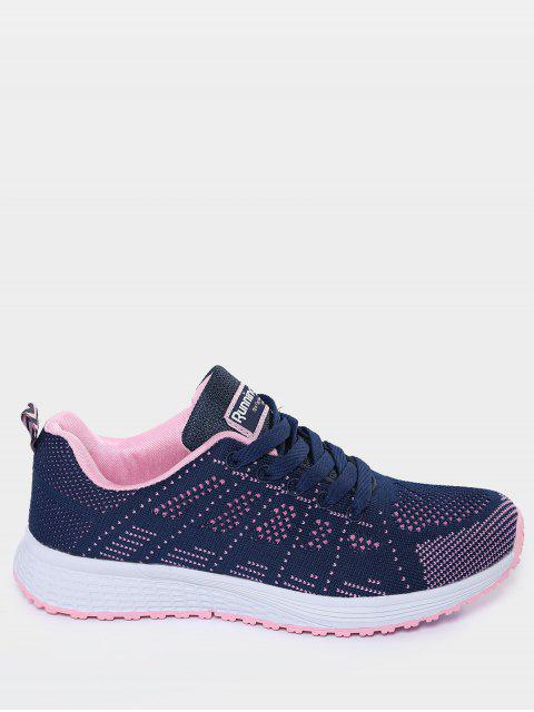 hot Eyelet Embroidery Mesh Breathable Athletic Shoes - DEEP BLUE 39 Mobile