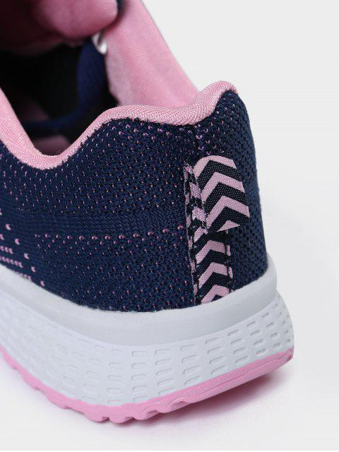 trendy Eyelet Embroidery Mesh Breathable Athletic Shoes - DEEP BLUE 38 Mobile