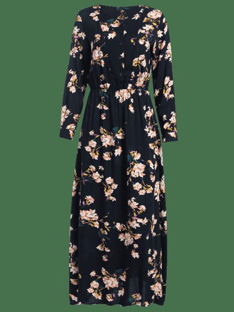 Robe Maxi à Manches Longues Botonné Imprimé à Petites Fleurs - Bleu Cadette XS Mobile