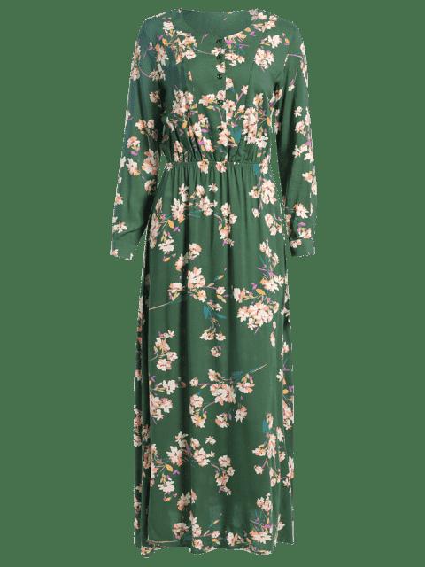 Robe Maxi à Manches Longues Botonné Imprimé à Petites Fleurs - Vert S Mobile