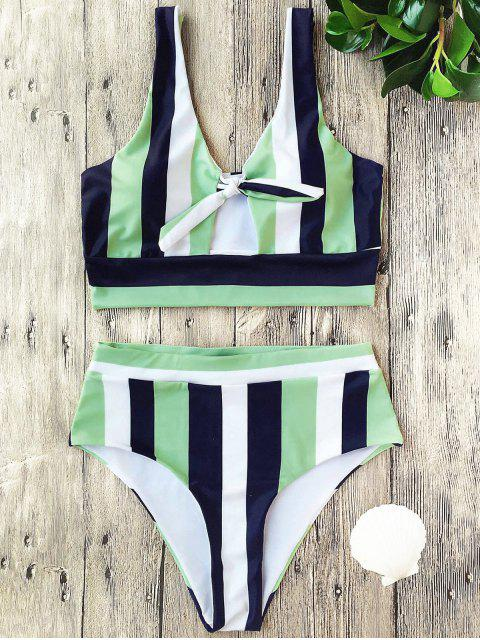 best Stripe Cropped Bikini Set - MULTI S Mobile