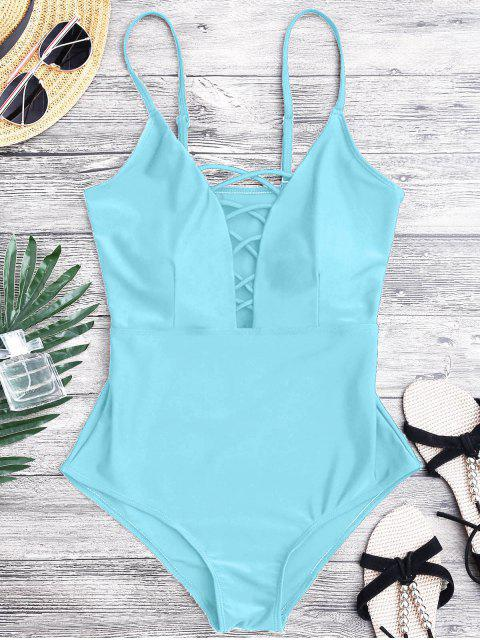 women Shaping Crisscross Plunge One Piece Swimsuit - LIGHT BLUE L Mobile