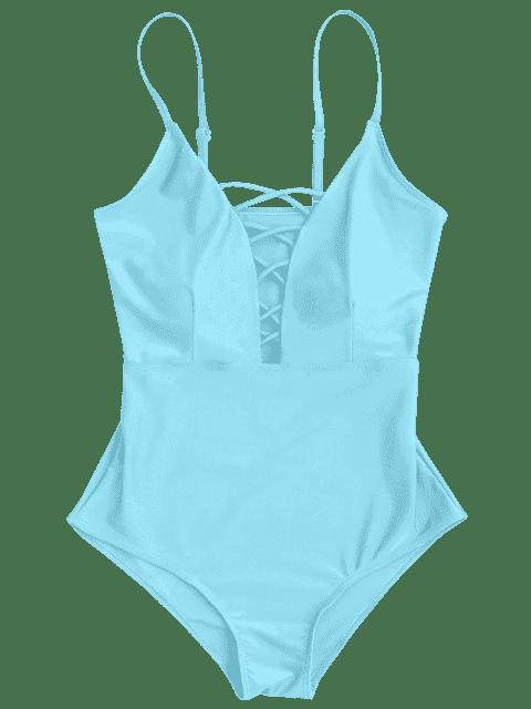 Maillot de bain une-pièce col plongeant avec ficelles croisées - Bleu clair L Mobile