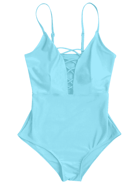 ladies Shaping Crisscross Plunge One Piece Swimsuit - LIGHT BLUE S Mobile
