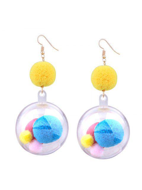 Fuzzy Pompon Ball Hook Drop Earrings - Multicolore  Mobile