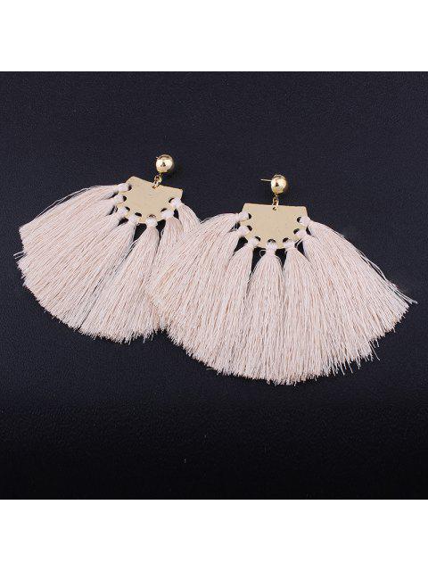 best Statement Geometric Tassel Earrings - BEIGE  Mobile