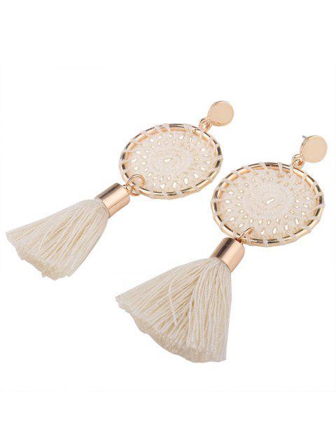 Crochet Floral Tassel Drop Earrings - Blanc  Mobile