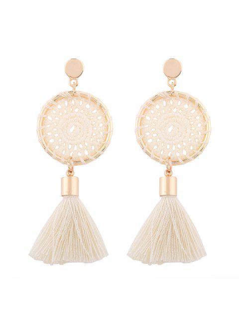 Pendientes de gota de borla floral de ganchillo - Blanco  Mobile