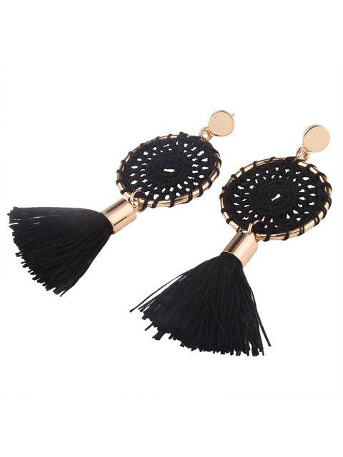 Crochet Floral Tassel Drop Earrings - Noir  Mobile