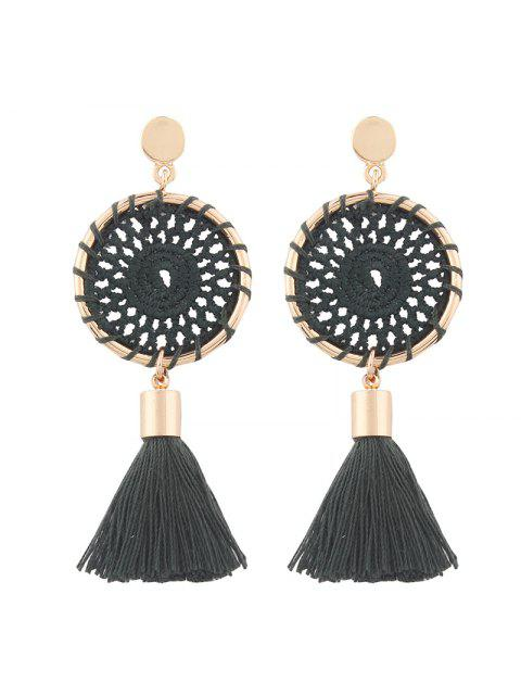 Crochet Floral Tassel Drop Earrings - VERT FONCE  Mobile