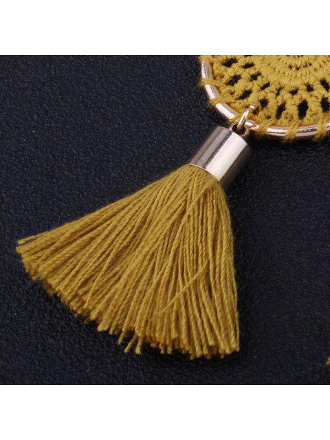 Crochet Floral Tassel Drop Earrings - Curcumae  Mobile