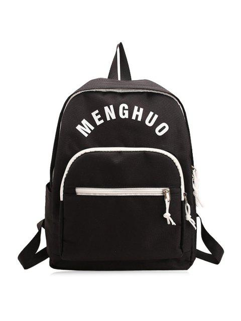 unique Letter Printed Nylon Backpack - BLACK  Mobile