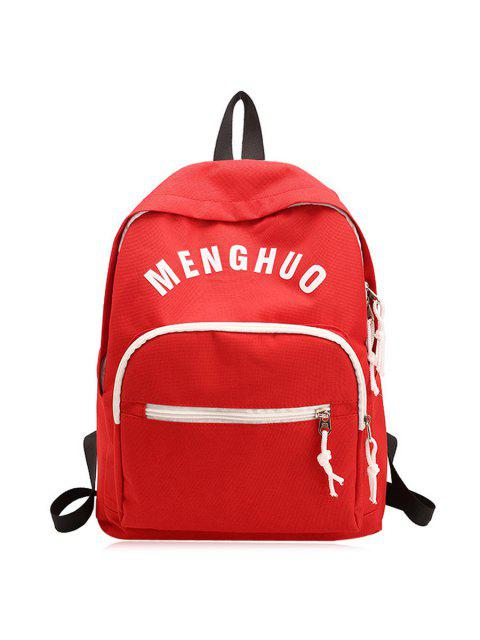chic Letter Printed Nylon Backpack - RED  Mobile