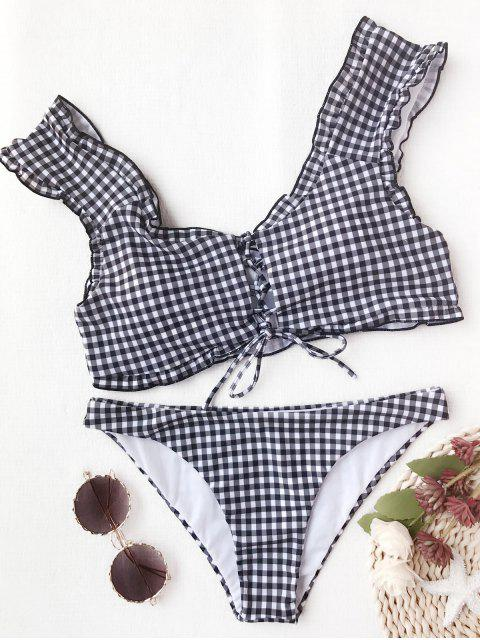 trendy Gingham Lace Up Bralette Bikini Set - WHITE AND BLACK M Mobile