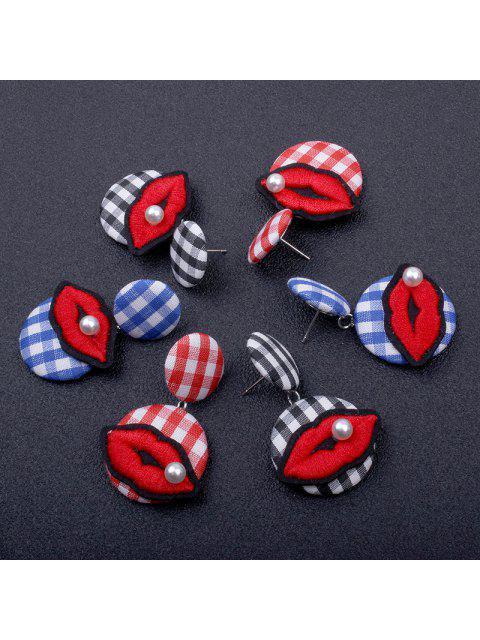 Faux Pearl Lips Broderie Plaid Boucles d'oreilles - Rouge  Mobile