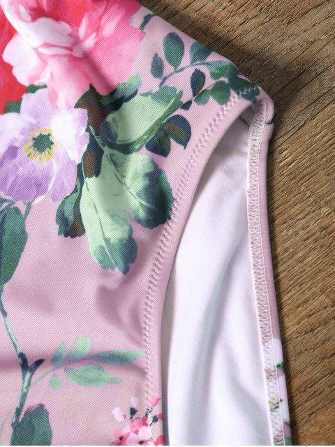 Maillot de Bain Une Pièce avec Une Forure Avant Floral - ROSE PÂLE L Mobile