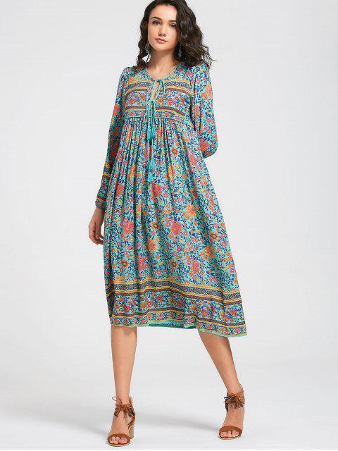 hot Long Sleeve Floral Tassels Midi Dress - FLORAL L Mobile