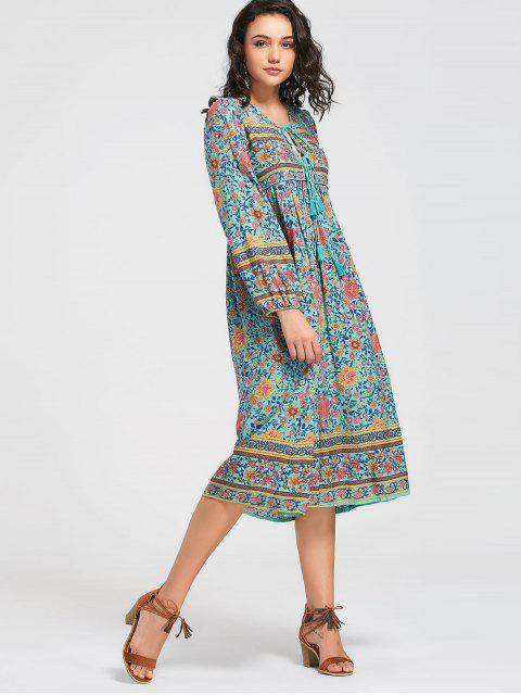 Robe mi-longue à manches longues - Floral L Mobile