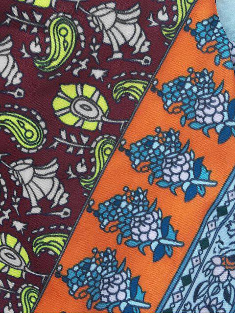 Plunging Neck Patchwork Print High Cut Maillots de bain - Multicolore L Mobile