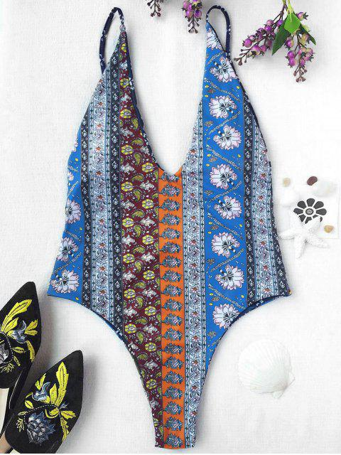 fashion Plunging Neck Patchwork Print High Cut Swimwear - COLORMIX XL Mobile