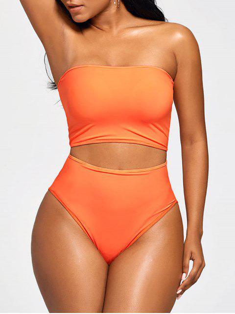 shop Strapless Bandeau High Waist Bikini - MANDARIN M Mobile