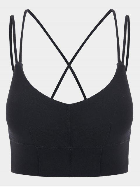 latest Strappy Mid Impact Sports Bra - BLACK S Mobile