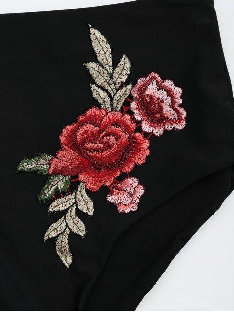 outfit Bandeau Floral Applique High Waisted Bikini - BLACK S Mobile