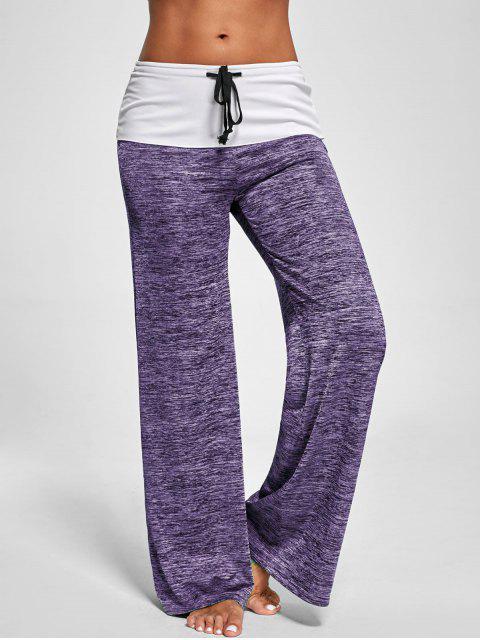 new Foldover Heather Wide Leg Pants - PURPLE M Mobile