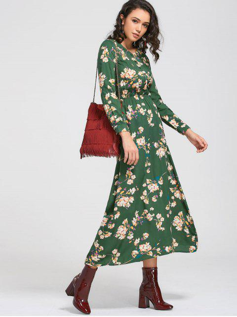 sale Long Sleeve Buttons Tiny Floral Maxi Dress - GREEN M Mobile