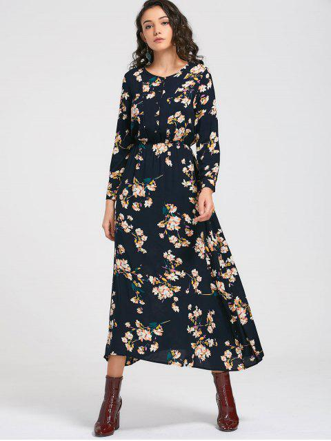 outfit Long Sleeve Buttons Tiny Floral Maxi Dress - CADETBLUE L Mobile