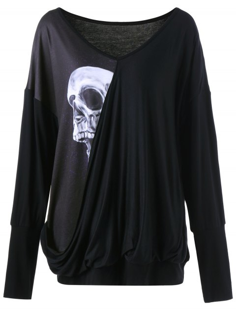 sale Skull Print Plus Size Drape Tee - BLACK XL Mobile