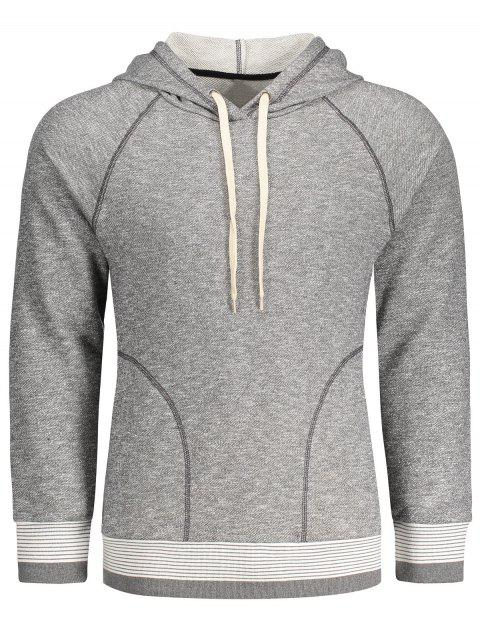 new Stripe Hem Raglan Sleeve Hoodie - GRAY L Mobile