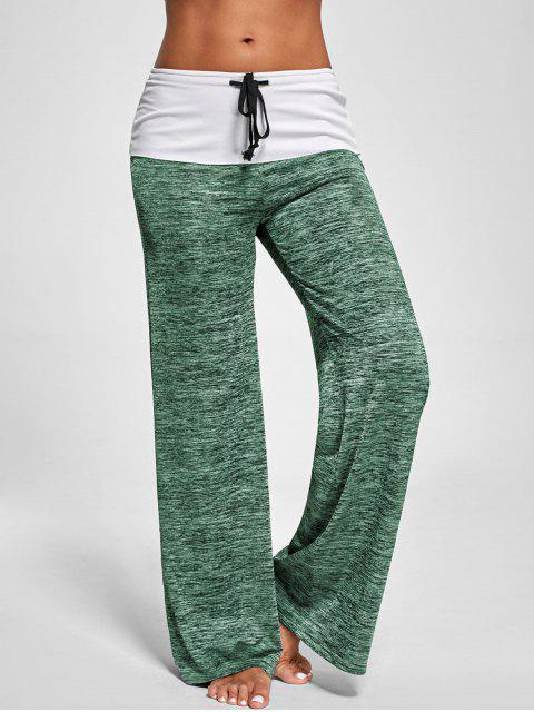 outfits Foldover Heather Wide Leg Pants - APPLE GREEN L Mobile