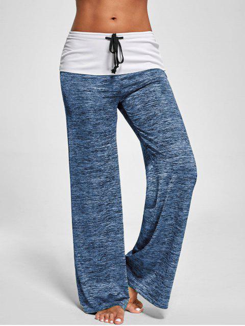 Faltdeckung Hose mit weitem Bein und Mischfarbe - Blaugrau L Mobile