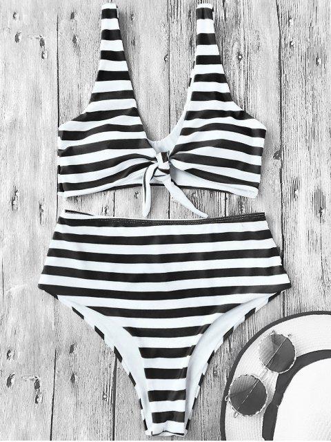 Knotted gestreifte hoch taillierte Bikini-Set - Weiß & Schwarz M Mobile