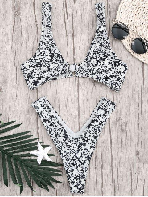 Gedruckter Bralette Thong Badeanzug - Weiß & Schwarz L Mobile