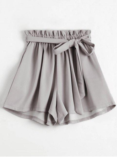 shop Smocked Belted High Waisted Shorts - LIGHT GRAY ONE SIZE Mobile