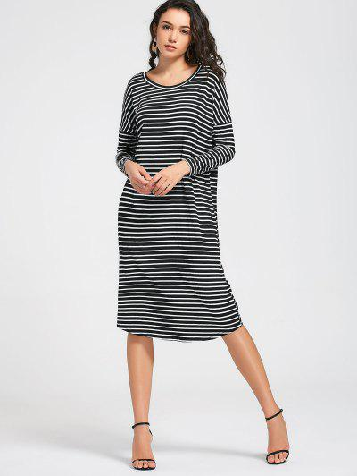 Stripes Long Sleeve Midi Casual Dress - Rayure