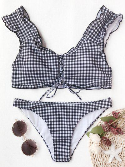 Gingham Lace Up Bralette Bikini Set - Weiß & Schwarz M