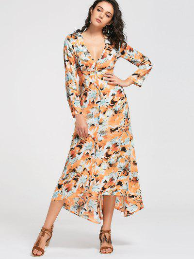 Long Sleeve Button Up Maxi Dress - Jaune