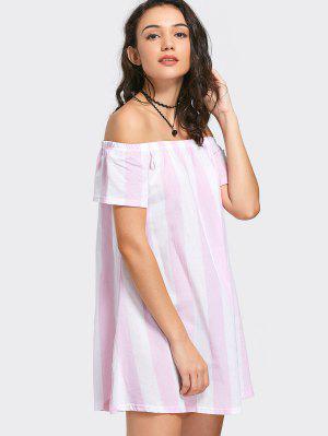 Off The Shoulder Striped Mini Dress - Pink L