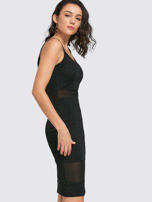 Mesh Panel Cami Sheath Dress - Black L