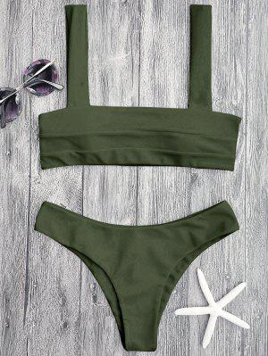 Bandeau Padded Bikini Top And Bottoms - Green S