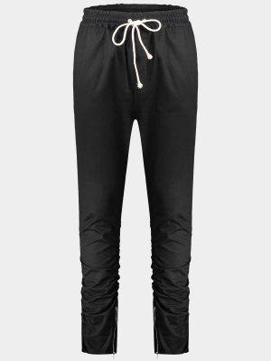 Slim Fit Drawstring Mens Pantalones De Sarga - Negro 2xl