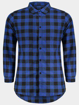 Camisa A Cuadros Casual Para Hombre - Azul L