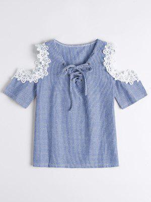 Lace Up Cold Shoulder Striped Blouse - Azul