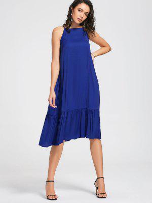 High Neck Flounces Midi Dress - Blue L