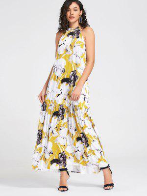 Floral Con Volantes De Costuras Maxi Dress - Blanco Xl
