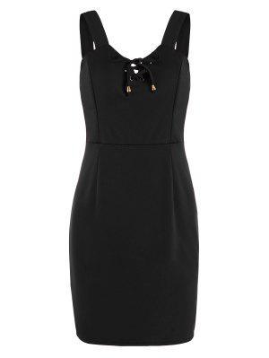 Encaje Hasta Mini Vestido Ajustado - Negro S