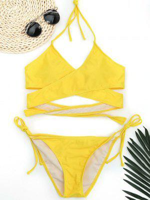 Halter Wrap String Bathing Suit - Yellow M
